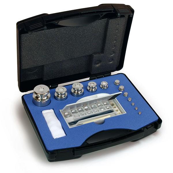 M1 Gewichtssatz, Knopfform, Edelstahl feingedreht, im Kunststoff-Koffer