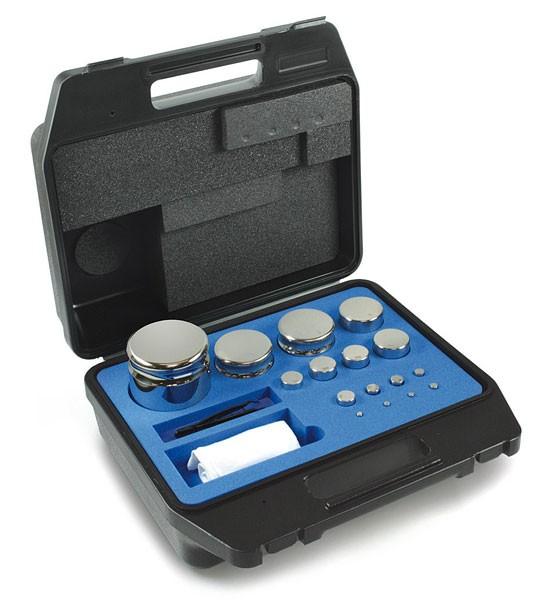 E2 Gewichtssatz, Kompaktform, Edelstahl, im Kunststoff-Koffer