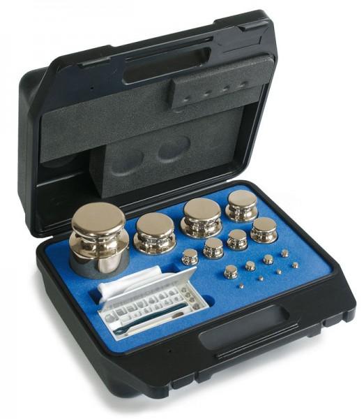 F1 Gewichtssatz, Knopfform, Messing vernickelt, im Kunststoff-Koffer